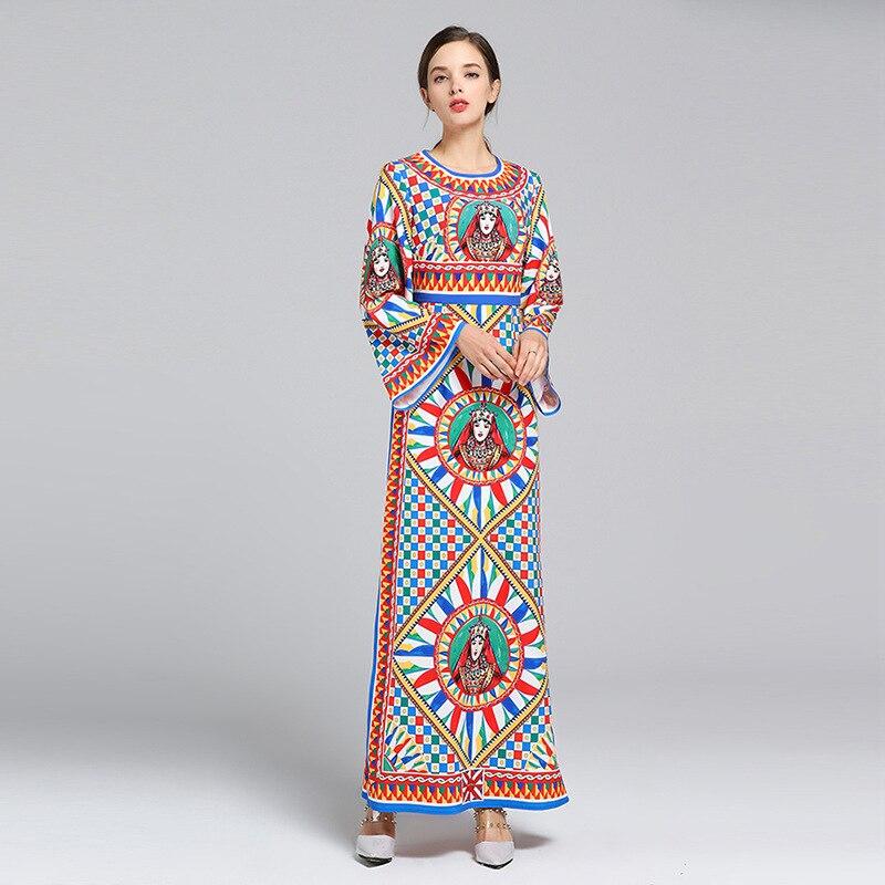 643f6d0d9a2d Donne Dell annata Manica Alta Stampato Elegante Lunga Delle Il Vestito 2019  Vita Abiti Dress Primavera ...