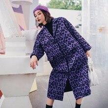 a94b3b0d71f LANMREM Woolen Coat For Autumn Winter 2018 Purple Leopard Printed Long