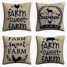Farm Sweet Farm Animals Vintage Decorative Cotton Linen Cushion Cover 45x45 cm For Sofa Chair Pillowcase Home Decor Almofada