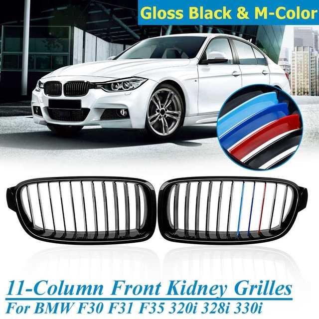 2 Pcs Gloss Black 3 Color M Color Front Bumper Kidney Grill For Bmw