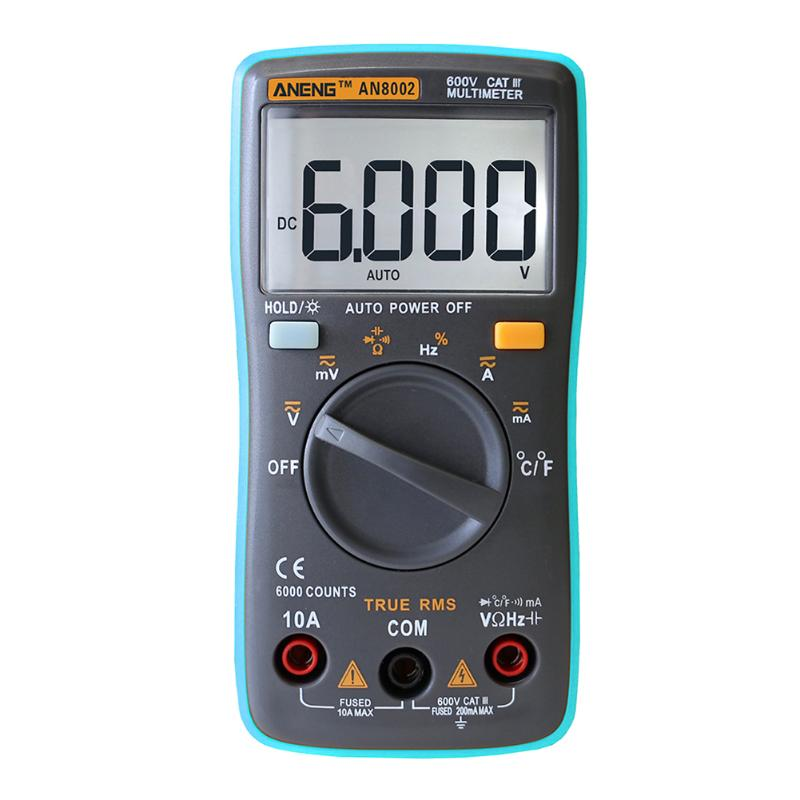 ANENG Digital Multimeter 6000Counts Backlight AC/DC Ohm Ammeter Temperature image