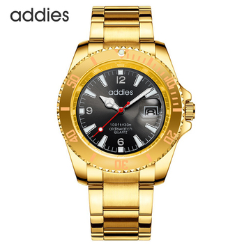цена на Addies Stainless Steel Mens Dive Watch Water Resistant 50 Meters Quartz Movement Blue Luxury Business Wrist Watch