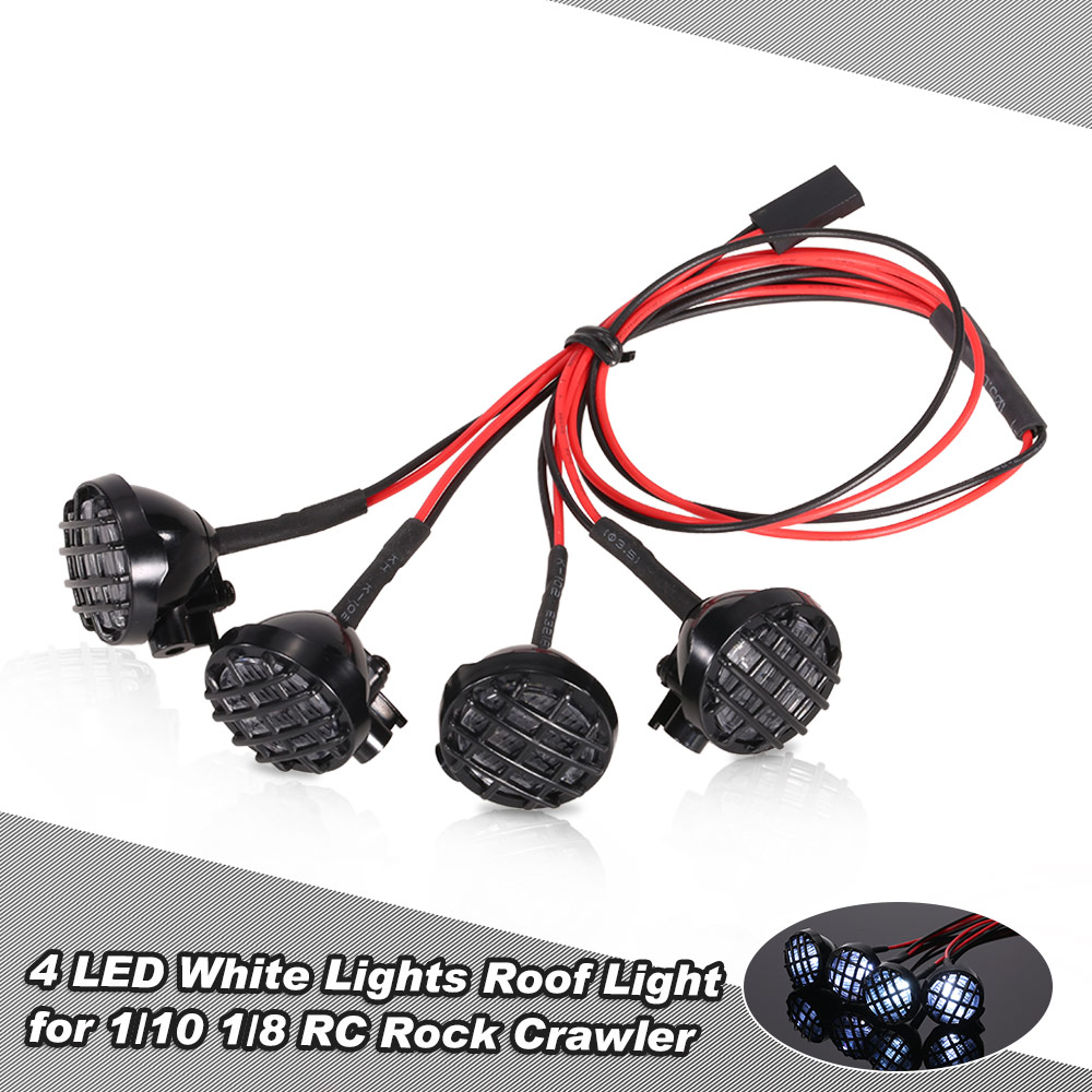 4 LED White Lights with Lampshade for 1/10 1/8 Traxxas HSP Redcat RC4WD Tamiya Axial SCX10 D90 HPI RC Rock Crawler