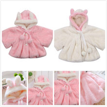 AU Kids Baby Girls Rabbit Bunny Ear Hooded Coat Warm Jacket Snowsuits Outwear(China)