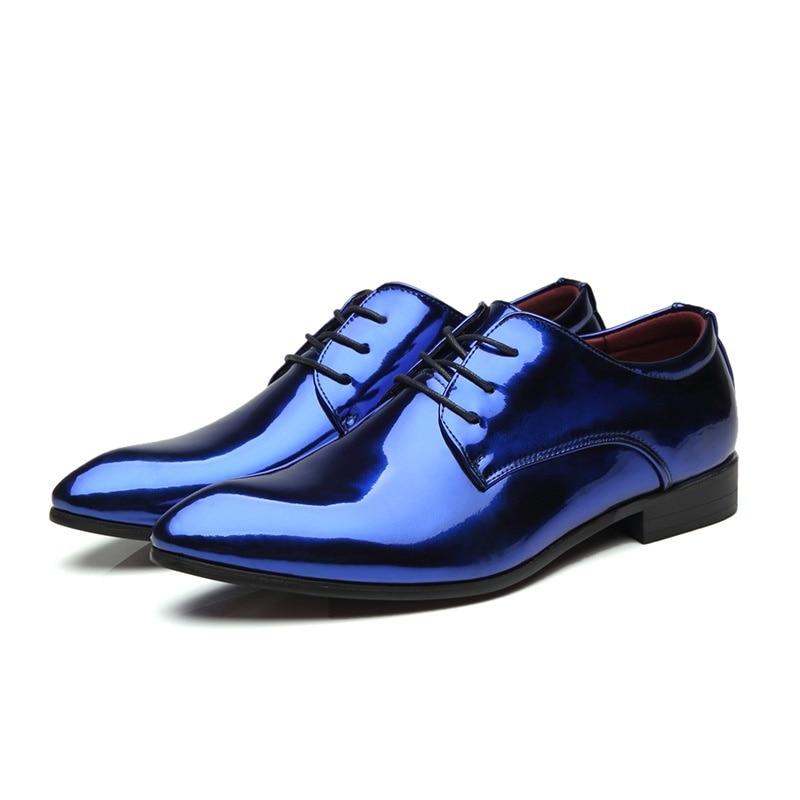 Mariage Taille Pointu Hommes Nis Bout rouge Chaussures D'affaires Cuir À En Habillées Mode Grande or Verni Formel Lumineux Oxford Lacets Bleu qBBT16xz