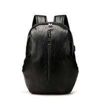 Backpack Leather Men Laptop Travel Backpack 15inch Waterproof Laptop Backpack USB College Bookbag Men Mochila Masculina Hombre