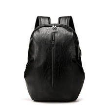 Backpack Leather Men Laptop Travel 15inch Waterproof USB College Bookbag Mochila Masculina Hombre