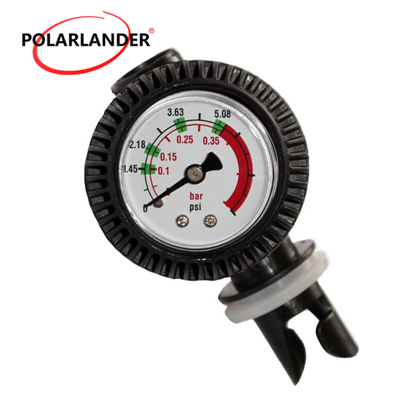 New Inflator Gauge Meter Tester Dial Manometer Black Air Thermometer With Valve Connector For Inflatable Kayak Raft Boat Surfing