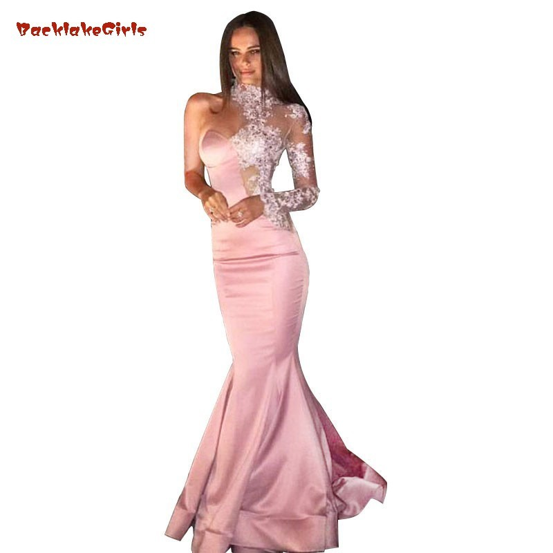 Prom-Dress Maxi-Gowns Appliques Mermaid Long-Sleeve Custom-Made One-Shoulder Pink Sheath