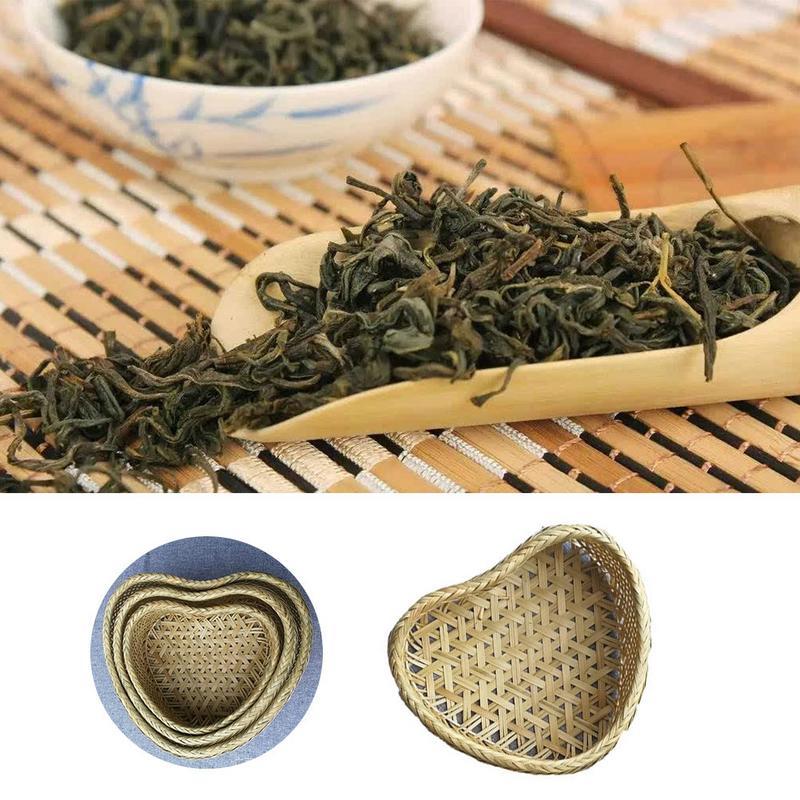 Heart Shaped Woven Bamboo Basket Reusable Natural Handmade Heart-shaped Basketcandy For Fruit Gift Box Packaging