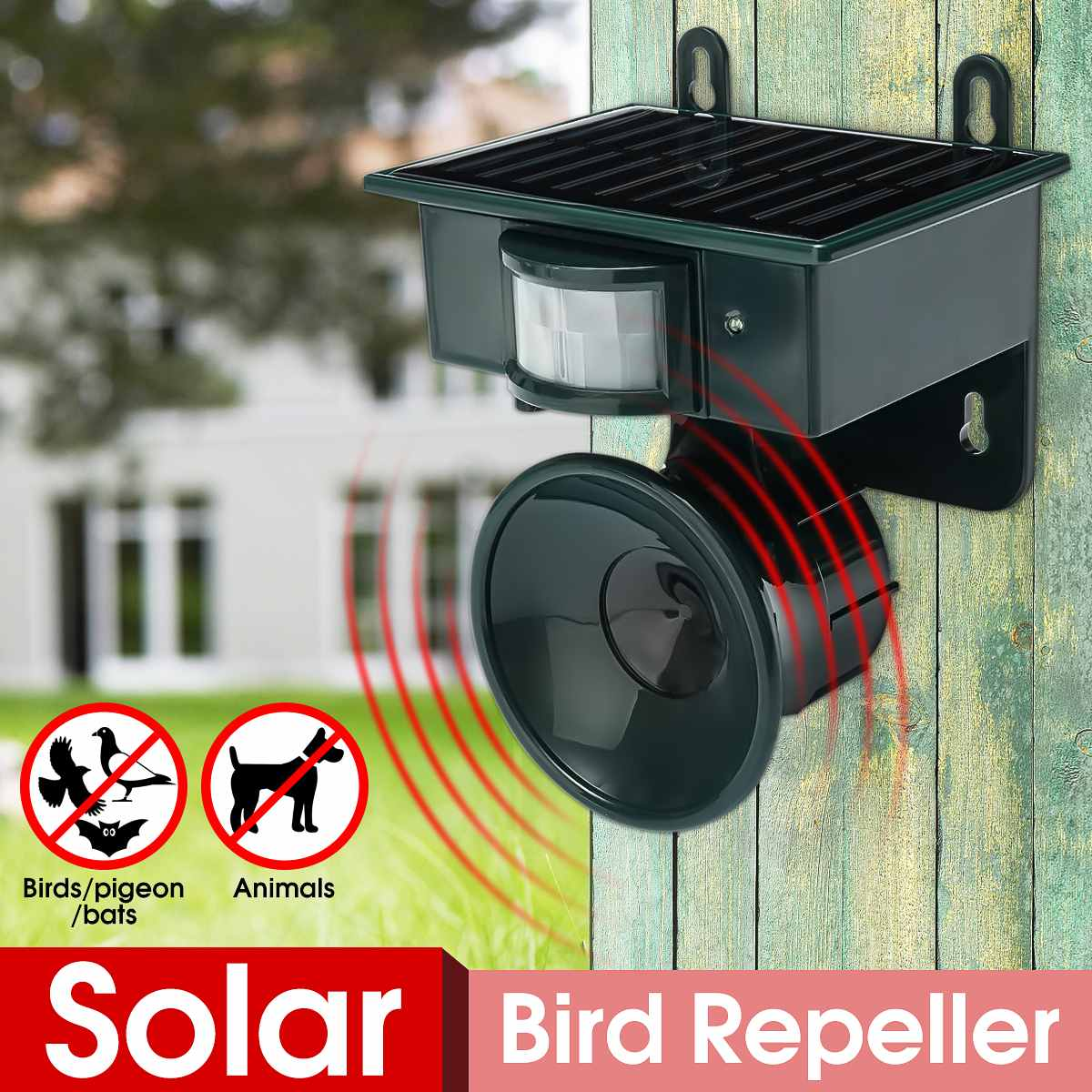 Ultrasonic PIR Outdoor Solar Animal Bird Cat Dog Mouse Fox Repeller Repellent Scarer  Garden Supplies