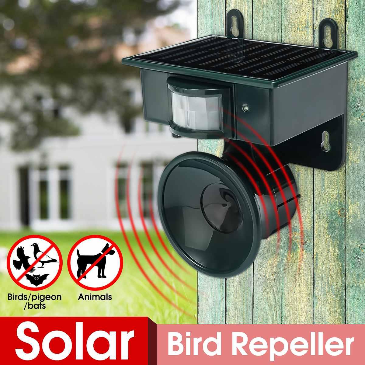 Ultrasonic PIR Outdoor Solar Animal Bird Cat Dog Mouse Fox Repeller Repellent Scarer Garden Supplies