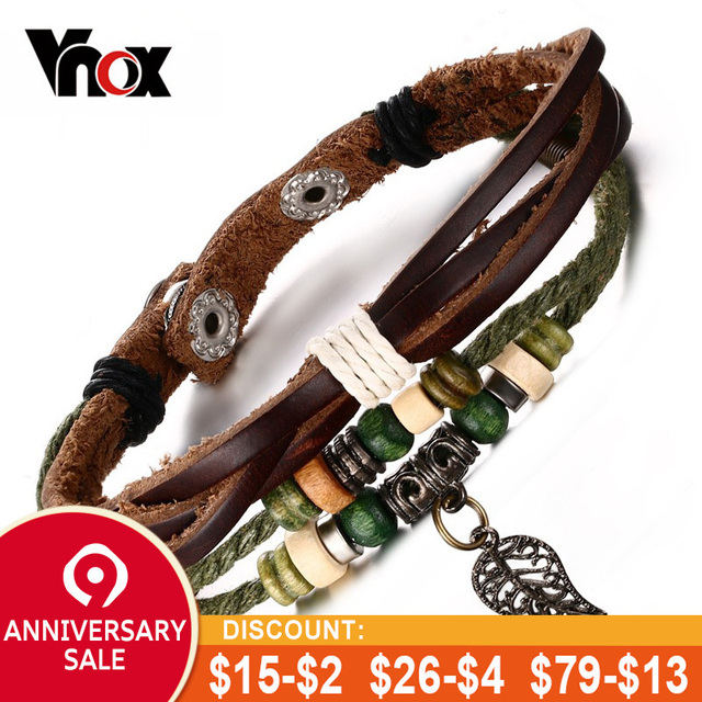 Vnox Brown Genuine Leather Bracelet Men's Bangle Stainless Steel Fashion Retro Charm Jewelry for Women