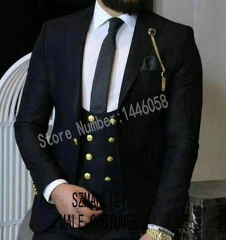 2019 Fashion Groom Dinner Party Formal Black Men Suit Gold Buttons Slim Fit Groomsmen Tuxedo Men Wedding Suits Terno Masculino