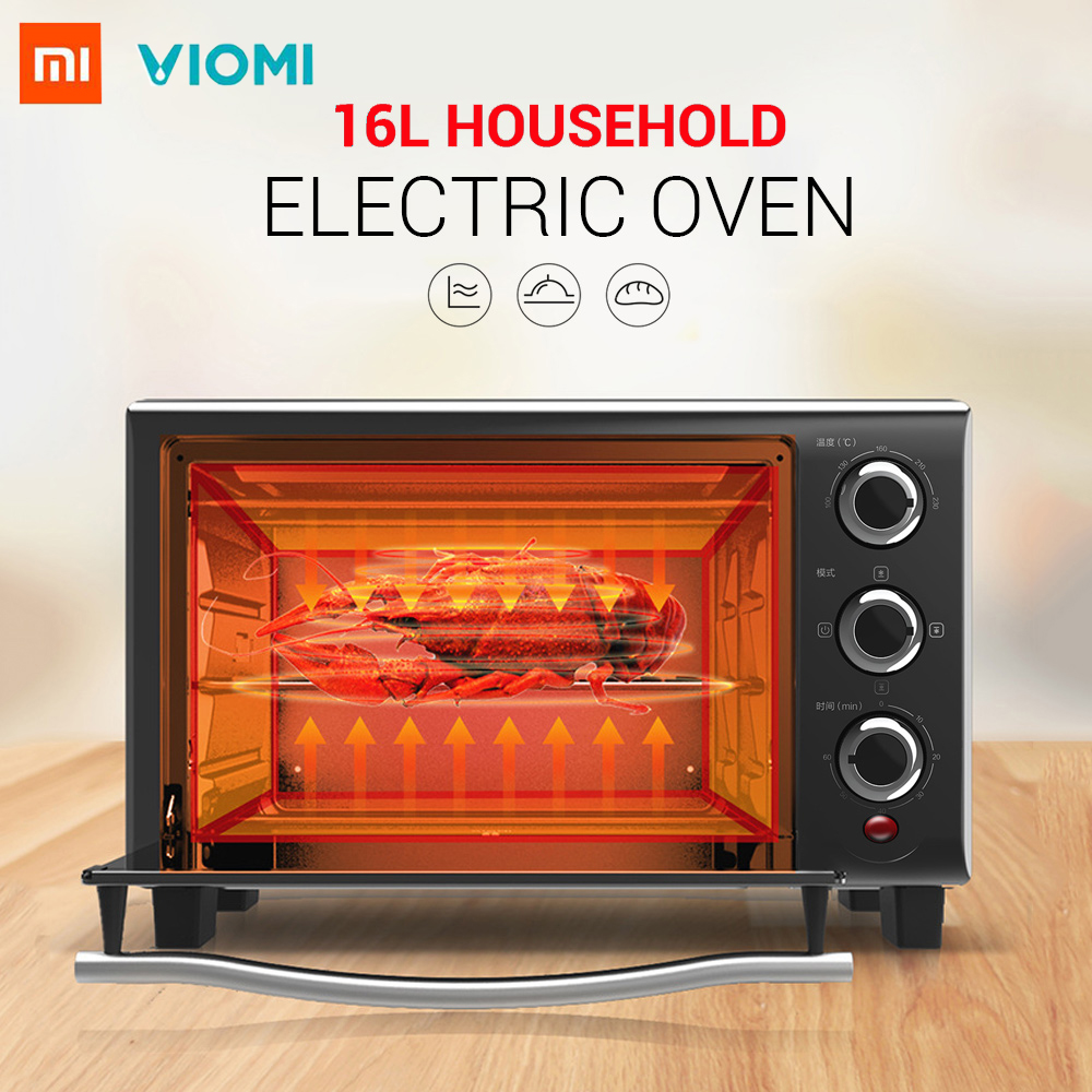 Xiaomi Viomi 16L Household Electric Oven 100 - 230 Deg.C Adjustable Temperature 3 Heating Modes 6 Timing OptionsXiaomi Viomi 16L Household Electric Oven 100 - 230 Deg.C Adjustable Temperature 3 Heating Modes 6 Timing Options