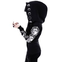 Rosetic Women Black Hooded Zipper Casual Hooded Pockets Letter Moon Print Gothic
