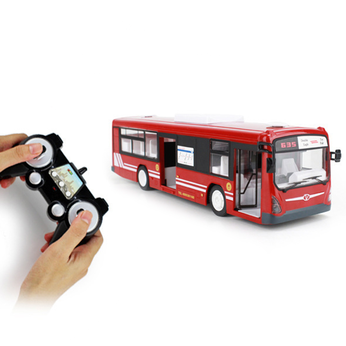 2.4G RC Car Bus City Express Model RC Toy Car with Realistic Light and Sound - Remote Control Bus Toys Birthday Gift Red