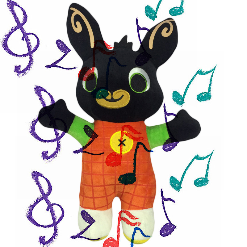 Bing Bunny 28cm with Music Rabbit Plush Bing Sing Theme Song Doll Soft Toys for Children Birthday Present Gift