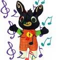 Bing bunny 28cm com música coelho pelúcia bing cantar tema canção boneca brinquedos macios para crianças presente de aniversário