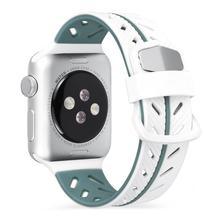 Silikon Glatte Armband Armband 42 MM Zwei Farbe Mode Ersatz Bunte Sport Weichen Bequemen Handgelenk Band Für IWatch Serie