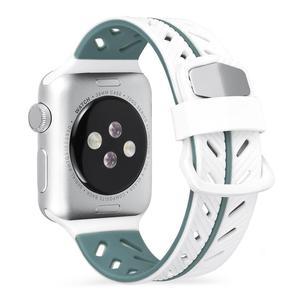 Image 1 - Silikon Glatte Armband Armband 42 MM Zwei Farbe Mode Ersatz Bunte Sport Weichen Bequemen Handgelenk Band Für IWatch Serie