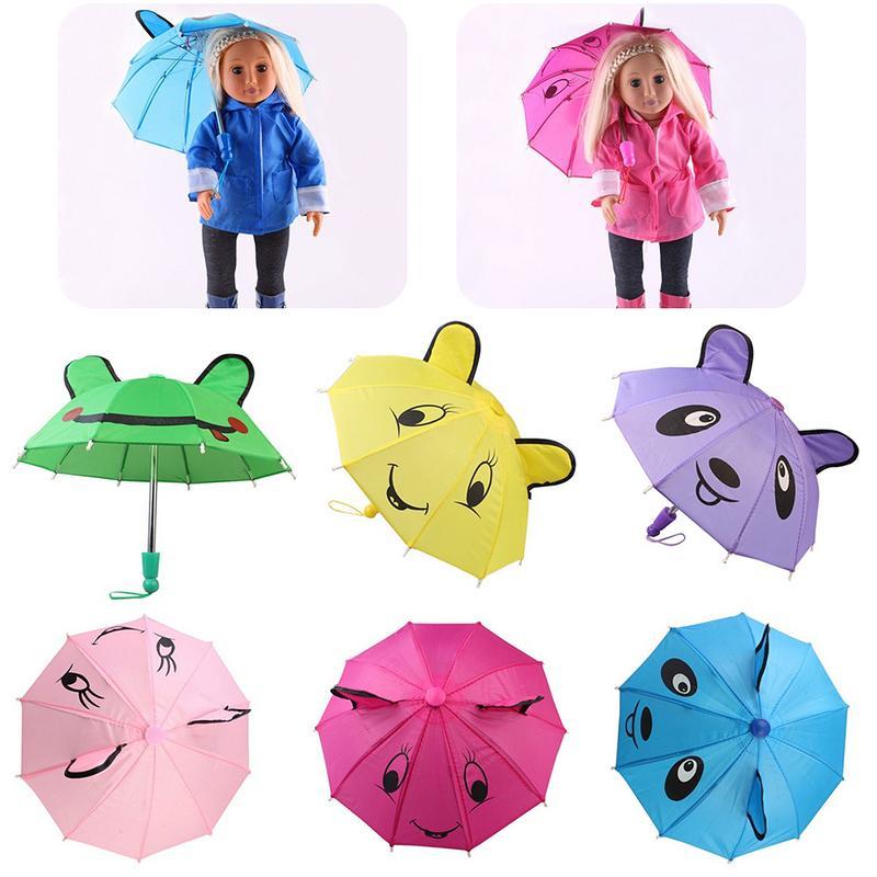 Wholesale Mini Umbrella For American Girl Doll Toy Accessory 18Inch Umbrella Cute Smile Pattern Multi-color Doll Umbrella(China)