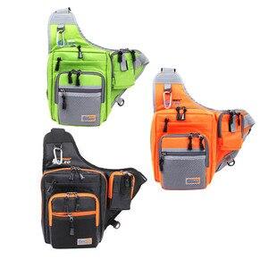 Image 2 - iLure Waterproof Canvas Fishing Bag Multi Purpose Outdoor Bag Reel Lure Bags Pesca Fishing Tackle Bag Green/Orange/Black