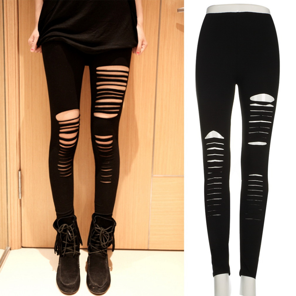 Newest Women Ripped Hole Leggings Black Slit Leggings Cut Out Legging Pants Slim Stretch Trousers Party Punk Pant 2017 Hot Sale
