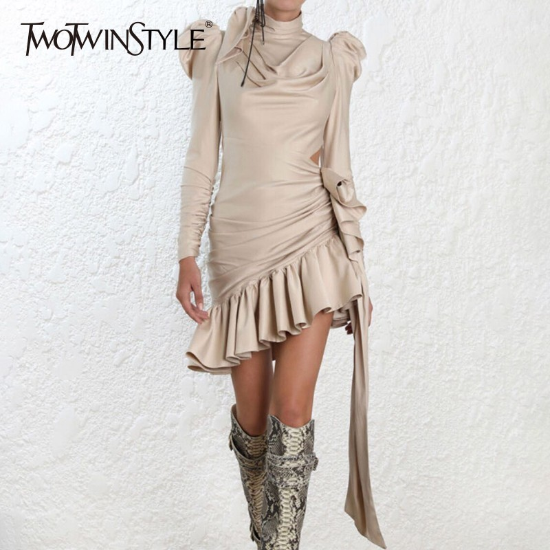 TWOTWINSTYLE Hollow Out Asymmetrical Satin Dresses For Women Bowknot Puff Sleeve Ruffle Evening Party Dress Female