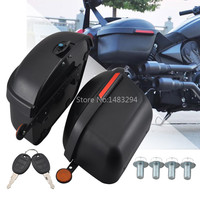 Large Black Motorcycle Side Boxs Luggage Tank Hard Trunk Saddle Bags With Reflectors Universal Trip Racing