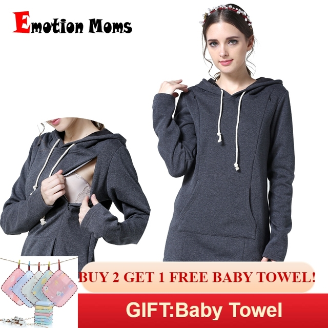 41df0366377cb Emotion Moms Winter Maternity Clothes Breastfeeding tops Nursing top  Thickened Warming Long Sleeve Maternity Hoodie sweater