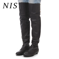 NIS Big Size Motorcycle Boots Women Shoes Sexy PU Leather Over Knee Thigh High Long Boots Warm Lining Winter Shoes Botas Mujer
