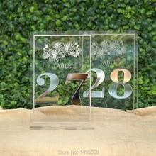 Золотые Зеркальные настольные номера, Свадебный декор стола, акриловые, серебристые настольные Номера для мероприятий, отдельно стоящие настольные номера