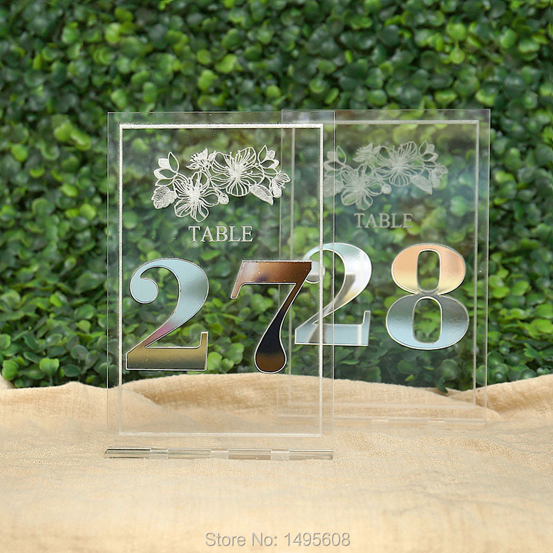 Gold Mirror Table Numbers , Wedding Table Decor, Acrylic, Sliver Table Numbers for Events, Freestanding Table Numbers Go