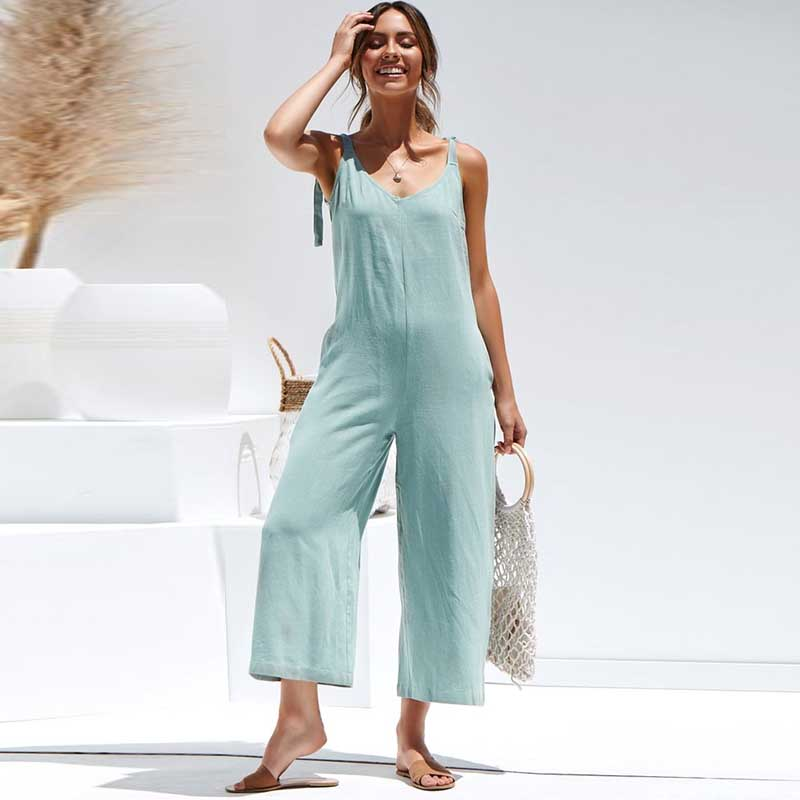 2019 Summer   Romper   For Women Casual Sleeveless Jumpsuit Bow Tie Strap Backless Solid Loose Wide Leg Pants Playsuit   Rompers