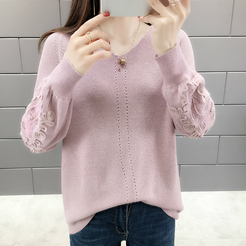 Autumn Winter V neck Lace Knitted Sweater Women Sweater And Pullover Female Tricot Jersey Jumper Pull Femme in Pullovers from Women 39 s Clothing
