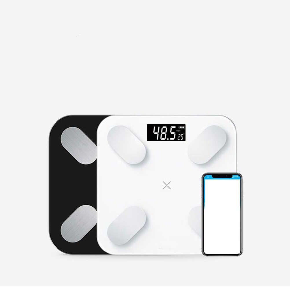 28 см негабаритных средства ухода за кожей жира весы пол научный Смарт светодио дный электронные светодиодный цифровой вес Bluetooth APP Android IOS без батареи