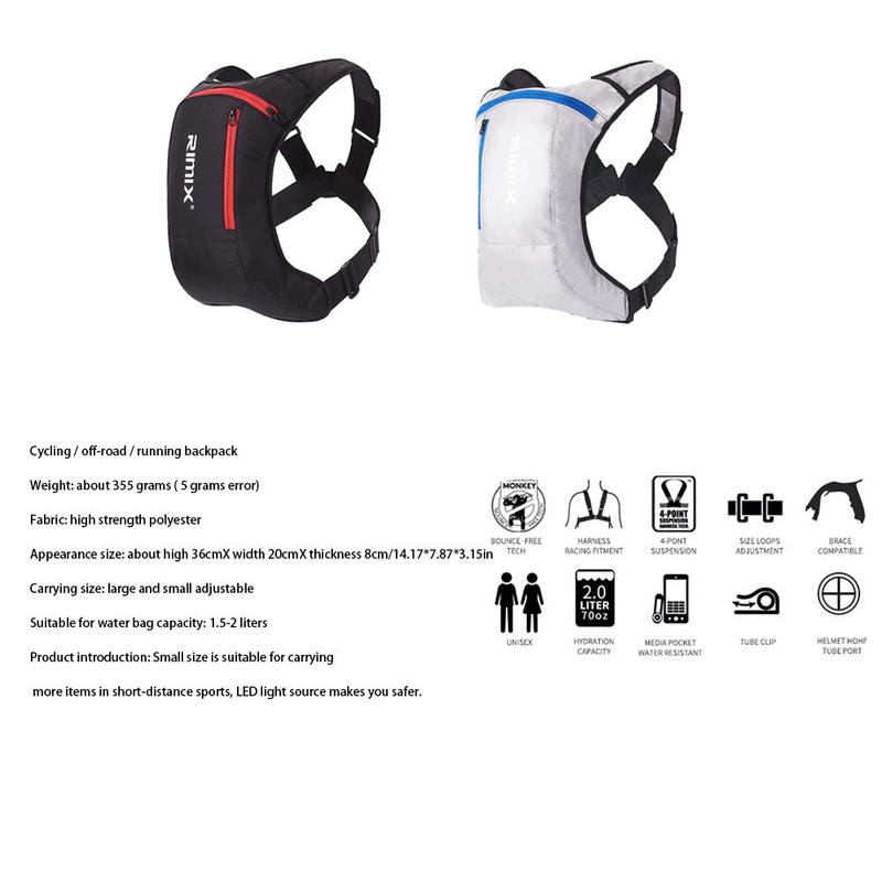 Sports Backpack Headlight Riding Running Rechargeable Hydration Pack Cycling Water Bag Backpack With LED Night Reflection