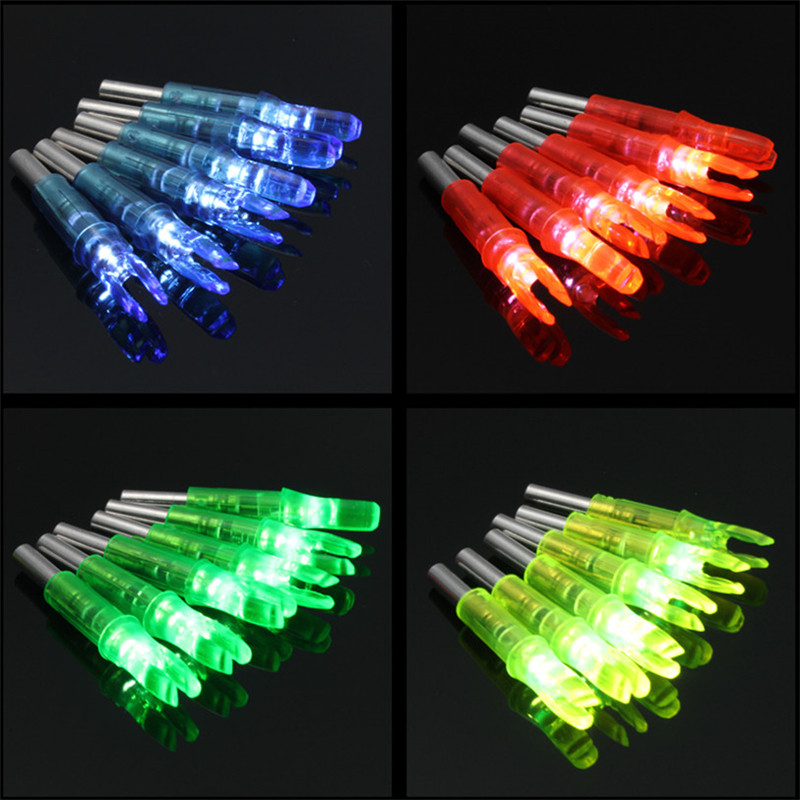 6pcs/lot Automatically ABS 44*6.2mm Led Lighted Arrow Nock Fits diameter Archery hunting Shooting arrow Accessories 4 color-in Bow & Arrow from Sports & Entertainment