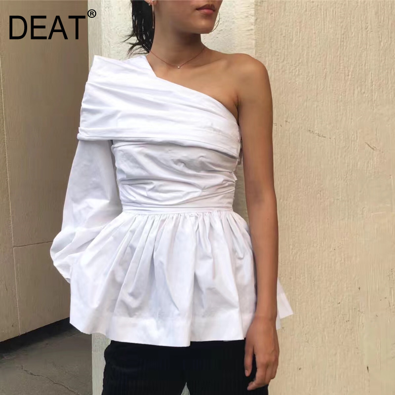 DEAT 2019 new spring fashion women clothing Europe single Shoulder pleated ruffles high waist mini length