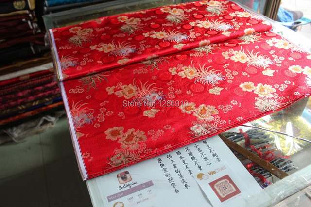 331feee28 chinese silk brocade woven damask fabric cheongsam cushion red back  Chrysanthemum & Peony with lucky cricle Tapestry satin