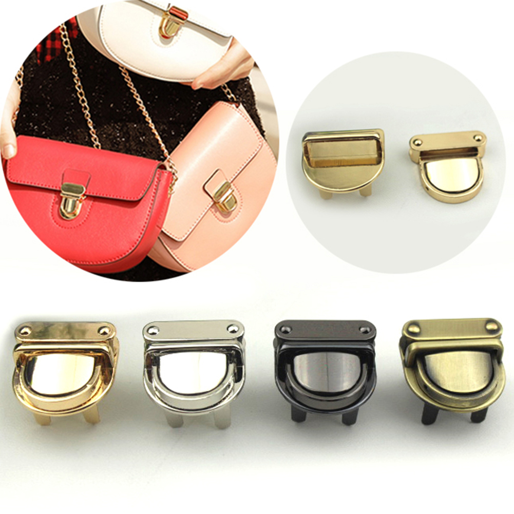 1PC Metal Durable Buckle Twist Lock Hardware Handbag DIY Turn Lock Bag Clasp Solid Color Bag Accessories