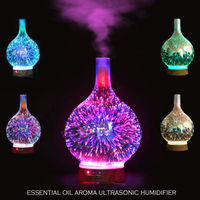 3D Glass Firework Colorful LED Aromatherapy Essential Oil Diffuser Humidifier USB Gadgets