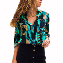 2019 New Arrival Chiffon Blouse Shirt Women Casual Geometric Long Sleeve Office Ladies Tops Turn Down Collar Blusa Chemise Femme 2019 hot sale spring women shirts tops long sleeve bow collar solid ladies chiffon blouse tops ol office style chemise femme