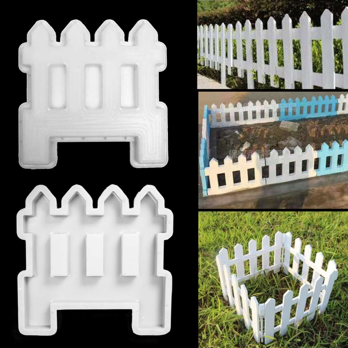 Concrete Molds DIY Garden Fence Cement Plastic Mold Green Belt Cement Brick Concrete Mold Great For Paving Molds White