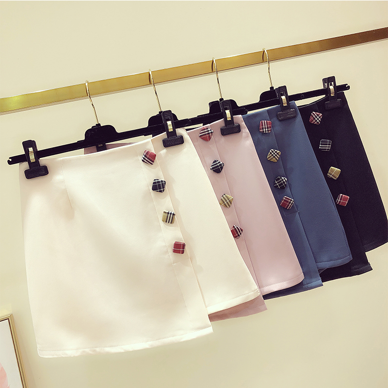 2019 Latest Design Women Skirt 90's Vintage Short Skirt Summer High Waist Smart Casual Ladies A-line Harajuku Min Skirts With Button Bringing More Convenience To The People In Their Daily Life