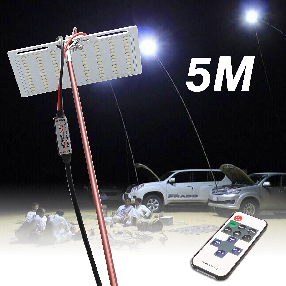 5M Portable Outdoor Lantern Camping Lamp Light Fishing Lamp Car Rod Light RF Remote Controller Outdoor Lighting