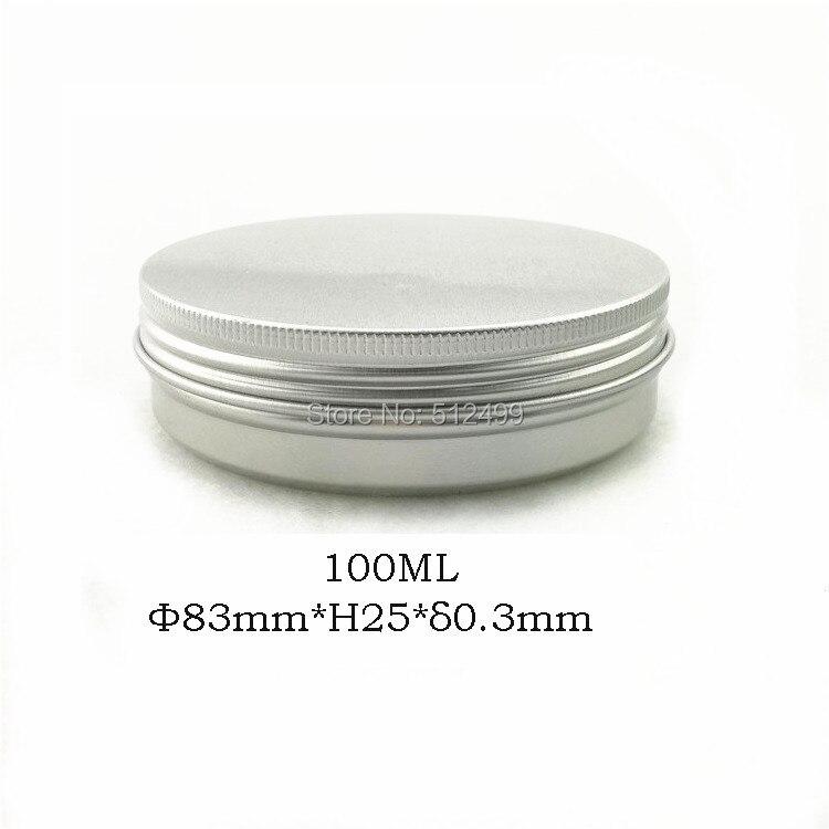 100g caja rellenable vacío redondo aluminio latas de metal botella con tapas, tarro de aluminio DIY caja de crema cosmética 100 ml-in Botellas rellenables from Belleza y salud    1