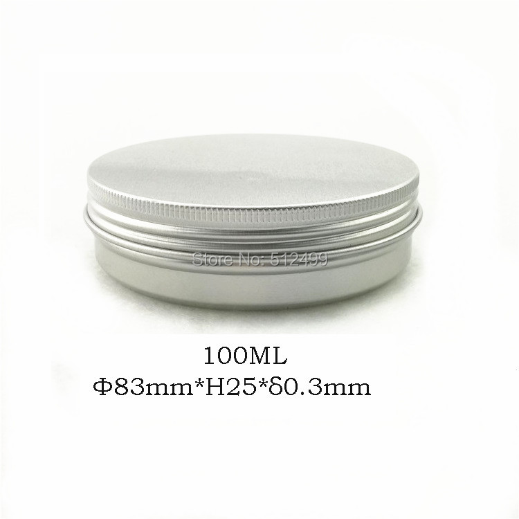 100g refillable box empty round aluminum metal tin cans bottle with lids,100ml cosmetic cream box DIY aluminum jar