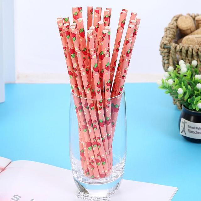 Disposable Paper Fruit Pattern Straws Set